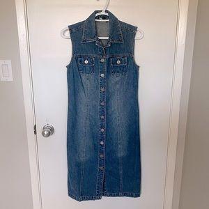 Vintage sleeveless midi denim jean dress
